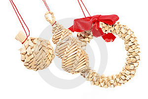 Christmas Straw Decorations Stock Photos - Image: 16709653