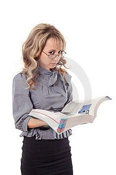 Beautiful Girl With Magazine Royalty Free Stock Image - Image: 16712036