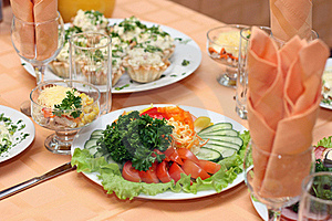 Table Covered At Restaurant Royalty Free Stock Photo - Image: 16712495