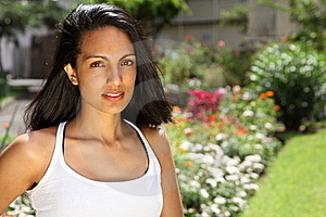 Stunning Young Woman In Sunshine Amongst Flowers Stock Photos - Image: 16719133