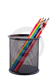 Color Pencils Isolated White. Stock Photos - Image: 16722543