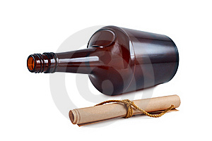 Bottle, Paper Roll Isolated. Royalty Free Stock Photo - Image: 16722555
