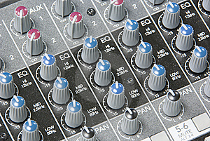 Mixing Board Knobs Royalty Free Stock Image - Image: 16724266