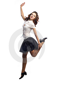 Girl In Skirt Jumping One Leg  Isolated White Royalty Free Stock Photo - Image: 16725525