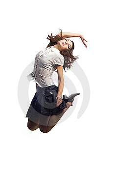 Girl In Skirt Jumping  Isolated White Royalty Free Stock Photos - Image: 16725528