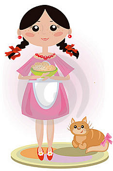 Girl Feed Cat Royalty Free Stock Photography - Image: 16732717