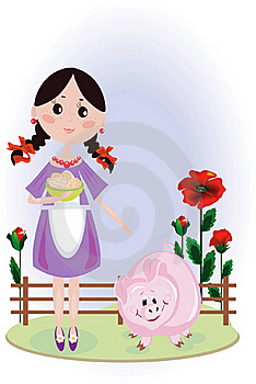 Girl With Pig Royalty Free Stock Photos - Image: 16732728