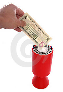 Donating Five Dollars To Charity Royalty Free Stock Photos - Image: 16733618