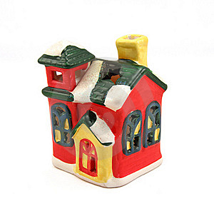 Ceramic Candlestick Multi-colored Small House Stock Photography - Image: 16735092