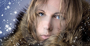 Beautiful Girl In A Winter Fur Collar Stock Images - Image: 16737214