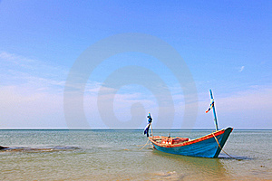 Long Tail Boat On The Beach Stock Photography - Image: 16738862