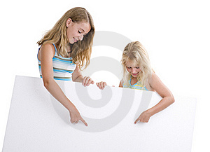Girls With Blank Sign Stock Image - Image: 16745451