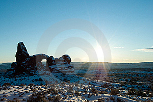 Sun Over Turret Arch In Arches National Park Stock Images - Image: 16745454