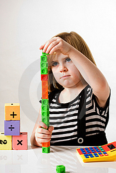 Girl With Counting Blocks Stock Images - Image: 16746694