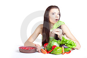 Young Girl With  Vegetables Royalty Free Stock Photos - Image: 16748878