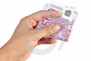 Hand Holding Euro Bills Stock Photos - Image: 16750233