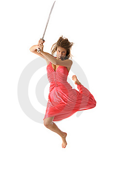 Young Woman In Jump With Sword Stock Image - Image: 16753231