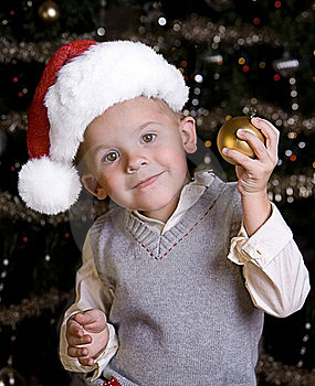 Adorable Little Boy In A Santa Hat Royalty Free Stock Photo - Image: 16754105