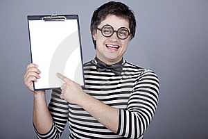 Funny Men Show Office Board. Stock Photos - Image: 16755913