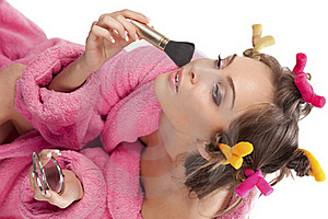 Woman In Pink Bath Robe Making-up Stock Images - Image: 16756584
