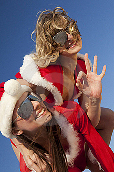 Two Happy  Santa Clause Having Fun Royalty Free Stock Photography - Image: 16756587