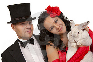 Magicians With  Bunny Stock Photo - Image: 16756610