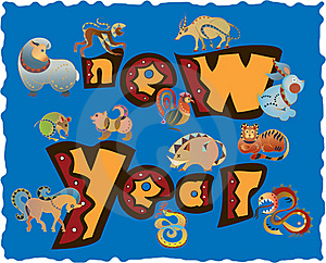 Zodiac Icons Of New Year Royalty Free Stock Photography - Image: 16756657