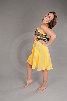 Woman In Yellow Dress Stock Photo - Image: 16762440