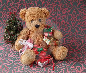 Teddy Bear With Christmas Presents Stock Photos - Image: 16763153