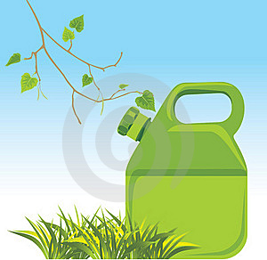 Petrol Canister And Birch Sprig With Grass Stock Images - Image: 16763664