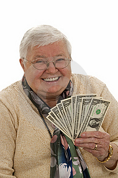Grandma With Dollars Stock Photo - Image: 16765150