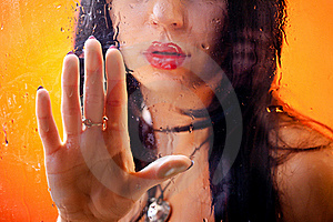 Woman Behind Glass Stock Photography - Image: 16775862