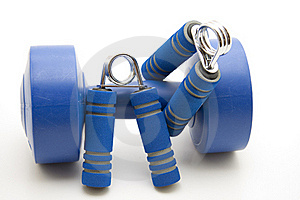 Finger Dumbbells With Blue Grip Royalty Free Stock Photography - Image: 16776777