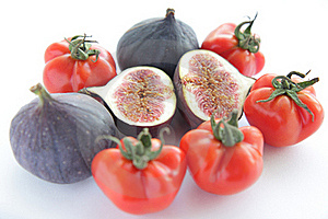 Fresh Figs And Tomatoes For Salad On White Backgro Stock Photo - Image: 16781520