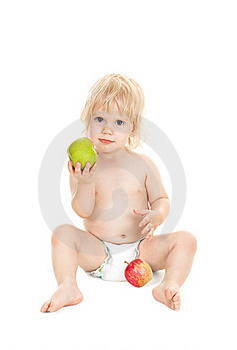Sweet Baby Girl Holding A Green Apple Stock Photos - Image: 16782883