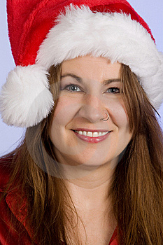 Woman Wearing Santa Hat Royalty Free Stock Image - Image: 16784286