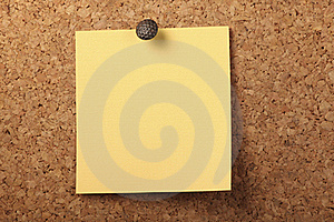 Pinned Yellow Notepaper Royalty Free Stock Photos - Image: 16784998