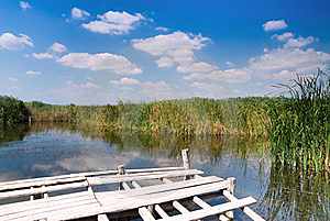 Wooden Dock On Wild Lake Stock Image - Image: 16788121