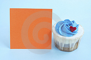 Love Cupcake And Orange Note Pad Royalty Free Stock Photography - Image: 16788137