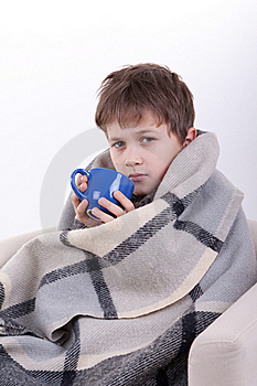 The Boy Covered By A Checkered Plaid, Drinks Stock Image - Image: 16795361