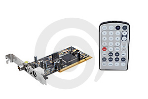 TV Tuner Card And Remote Control Royalty Free Stock Image - Image: 16797286