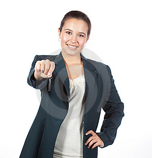 Young Hispanic Female Handing A Set Of House Keys Stock Photos - Image: 16798273