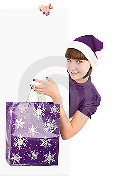 Sants Woman With Shopping Bag Holding Billboard Royalty Free Stock Photos - Image: 16798548