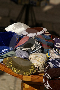 Yarmulkes With David's Star Royalty Free Stock Images - Image: 1681049