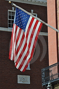 American Flag In A Historic City Royalty Free Stock Photography - Image: 16803887
