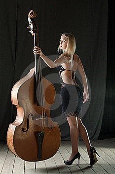 The Girl And A Contrabass Stock Images - Image: 16806974