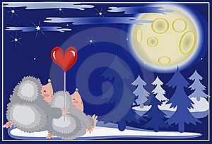 Hedgehogs Looks On The Moon. Royalty Free Stock Image - Image: 16809206