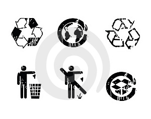 Recycle Symbols Grunge Effect Royalty Free Stock Photo - Image: 16809925
