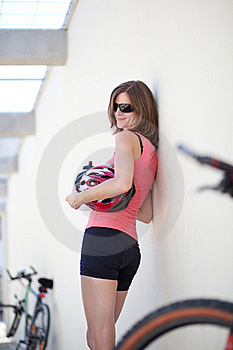 Portrait Of A  Female Biker Royalty Free Stock Images - Image: 16813659
