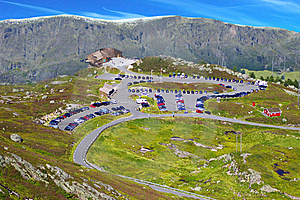 Picturesque Norway Mountain Landscape With Parking Royalty Free Stock Photos - Image: 16815188